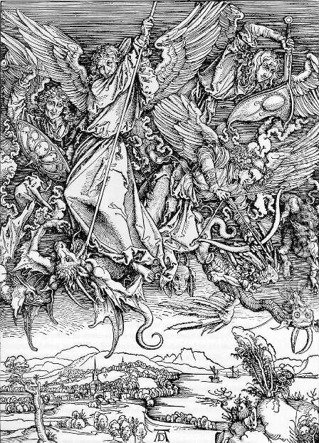 St.Michael and his Angels Fight the Dragon by Albrecht Durer - Reproduction Oil Painting