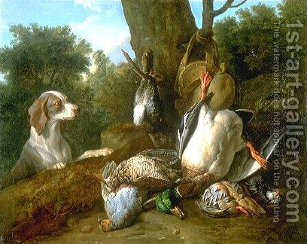 Still Life with Dog and Game by Alexandre-Francois Desportes - Reproduction Oil Painting