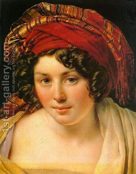 Head of a Woman in a Turban by Anne-Louis Girodet de Roucy-Triosson - Reproduction Oil Painting