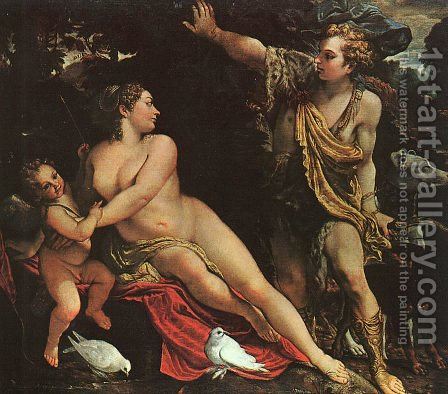 Venus, Adonis, and Cupid by Annibale Carracci - Reproduction Oil Painting