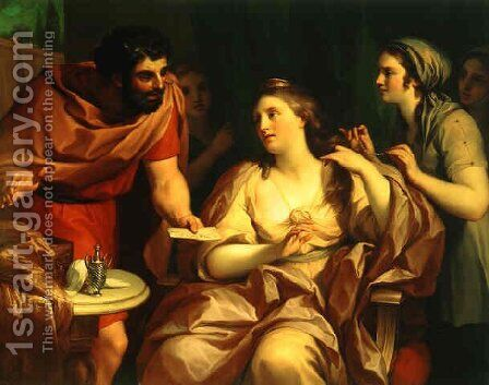 Semiramis Receives the   Message of the Babylonion Revolt by Anton Raphael Mengs - Reproduction Oil Painting