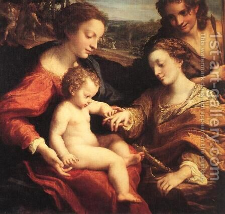The Mystic Marriage of St Catherine by Correggio (Antonio Allegri) - Reproduction Oil Painting