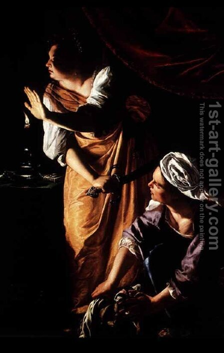 Judith and Her Maidservant with the Head of Holofernes by Artemisia Gentileschi - Reproduction Oil Painting