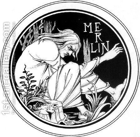 Merlin by Aubrey Vincent Beardsley - Reproduction Oil Painting