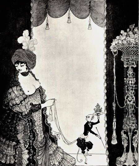 The Lady with the Monkey by Aubrey Vincent Beardsley - Reproduction Oil Painting