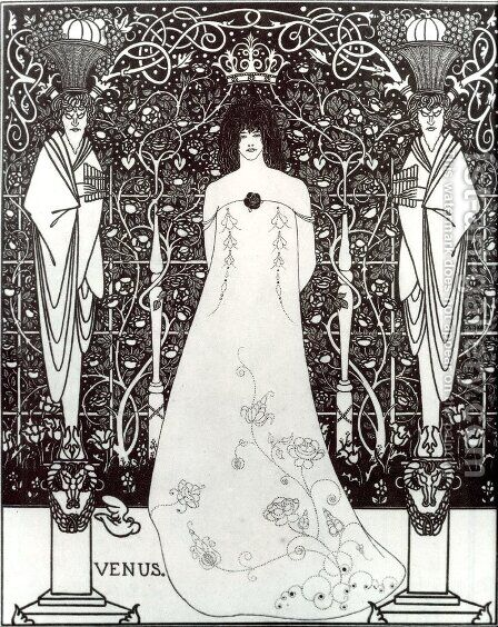 Venus Between Terminal Gods by Aubrey Vincent Beardsley - Reproduction Oil Painting