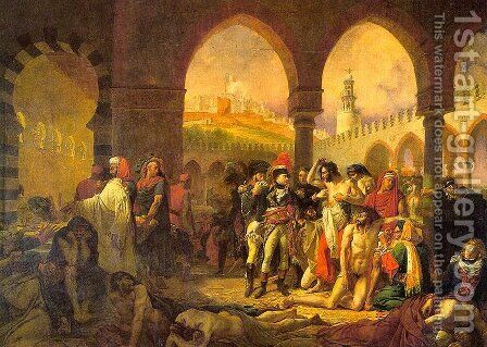Napoleon in the Pesthouse at Jaffa by Antoine-Jean Gros - Reproduction Oil Painting