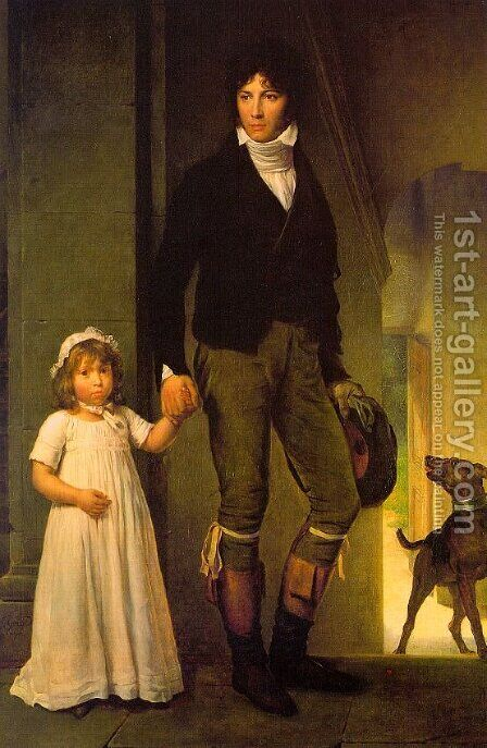 Jean-Baptiste Isabey and his Daughter by Baron Francois Gerard - Reproduction Oil Painting