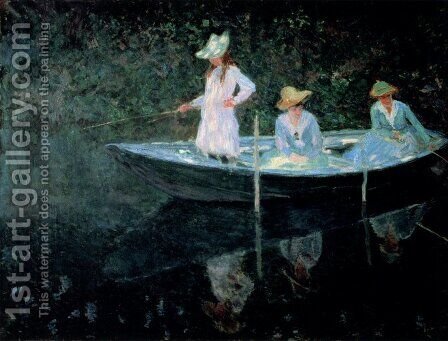In The Rowing Boat by Claude Oscar Monet - Reproduction Oil Painting