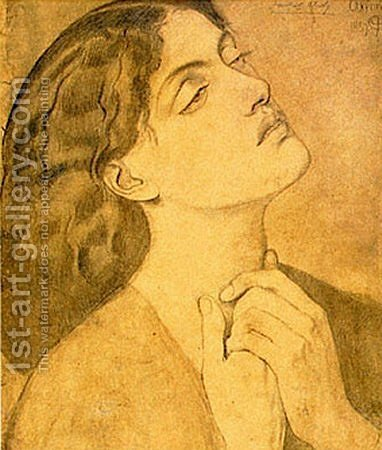 "Study of Guinevere for ""Sir Lancelot in the Queen's Chamber"" 2 by Dante Gabriel Rossetti - Reproduction Oil Painting"