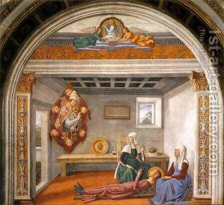 Announcement of Death to St Fina by Domenico Ghirlandaio - Reproduction Oil Painting
