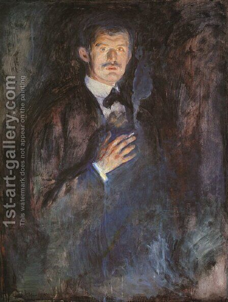 Self-Portrait with a Burning Cigarette by Edvard Munch - Reproduction Oil Painting