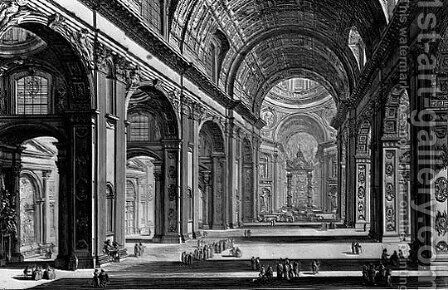 Interior of St Peter's, Rome by Giovanni Battista Piranesi - Reproduction Oil Painting