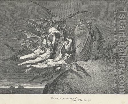 """Be none of you outrageous."" (Canto XXI., line 70) by Gustave Dore - Reproduction Oil Painting"