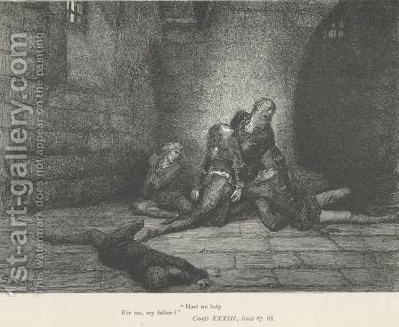 """Hast no help For me, my father?"" (Canto XXXIII., lines 67-68) by Gustave Dore - Reproduction Oil Painting"