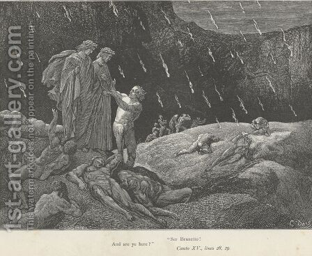 """Ser Brunetto! And are ye here?"" (Canto XV., lines 28-29) by Gustave Dore - Reproduction Oil Painting"