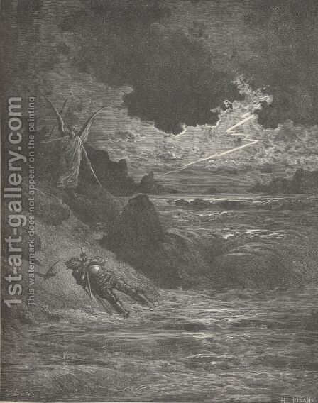 Along the banks and bottom of his course; (Canto V., line137) by Gustave Dore - Reproduction Oil Painting