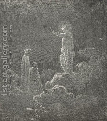 Already on my temples beam'd the crown, (Canto VIII., line 71) by Gustave Dore - Reproduction Oil Painting