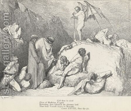 Call thou to mind Piero of Medicina, (Canto XXVIII., lines 69-70) by Gustave Dore - Reproduction Oil Painting