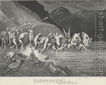 Cast themselves, one by one, down from the shore (Canto III., line 108) by Gustave Dore - Reproduction Oil Painting