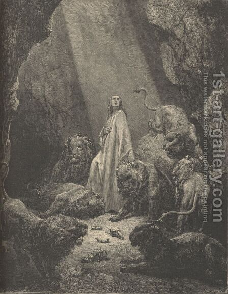 Daniel In The Lion's Den by Gustave Dore - Reproduction Oil Painting