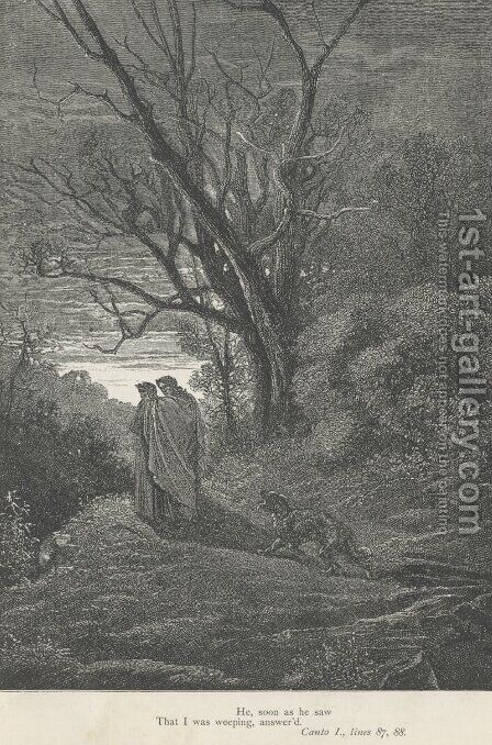 He, soon as he saw That I was weeping, answer'd (Canto I., lines 87-88) by Gustave Dore - Reproduction Oil Painting