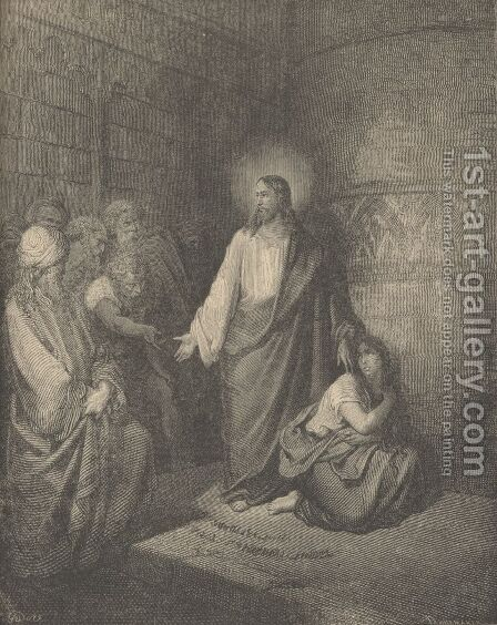 Jesus And The Woman Taken In Adultery by Gustave Dore - Reproduction Oil Painting