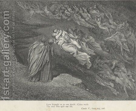 Love brought us to one death: Caina waits (Canto V., line 105) by Gustave Dore - Reproduction Oil Painting