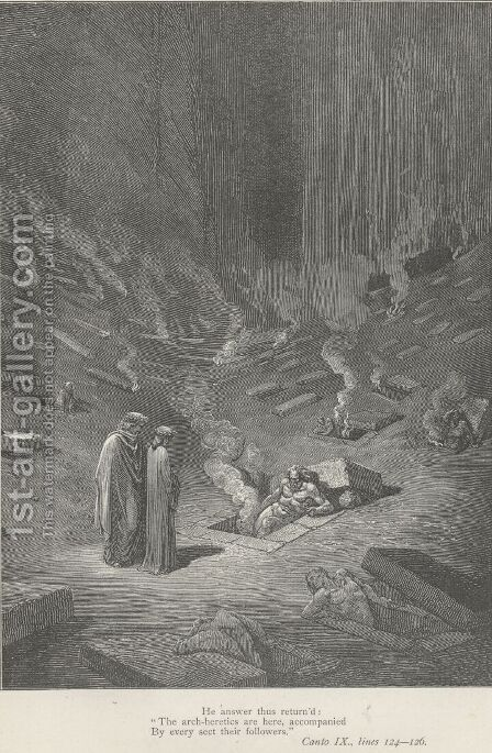 The arch-heretics are here, (Canto IX., line 125) by Gustave Dore - Reproduction Oil Painting