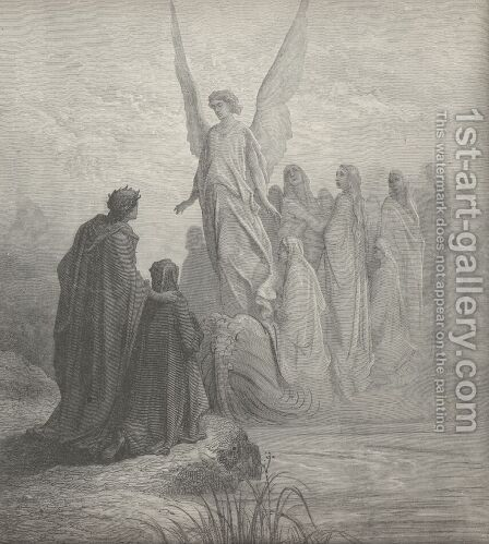 The heav'nly steersman at the prow was seen, (Canto II., line 45) by Gustave Dore - Reproduction Oil Painting