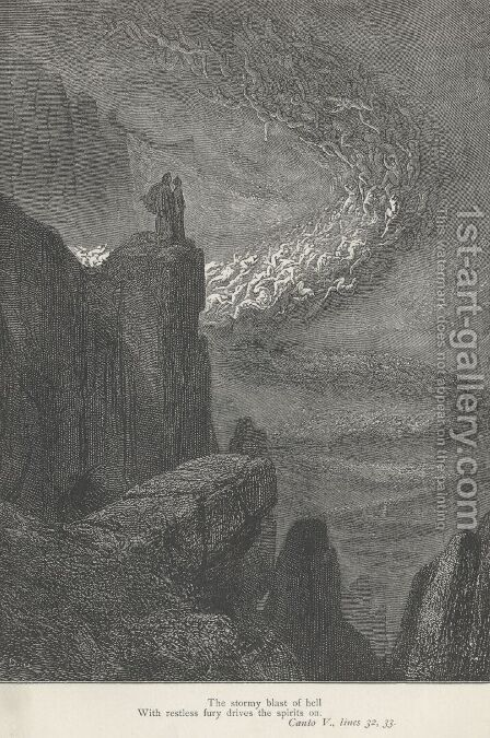 The stormy blast of hell (Canto V., line 32) by Gustave Dore - Reproduction Oil Painting