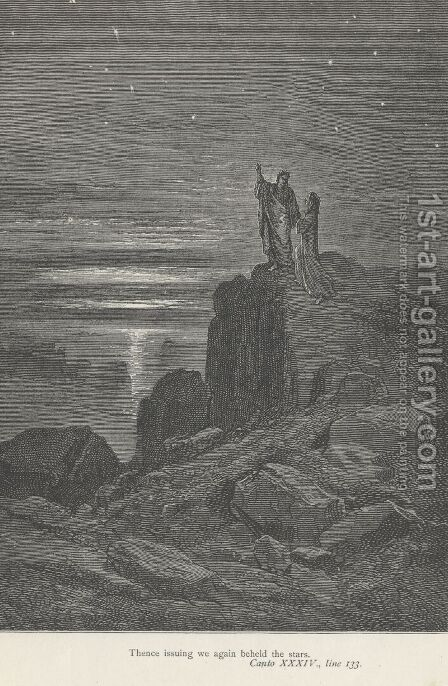 Thence issuing we again beheld the stars. (Canto XXXIV., line 133) by Gustave Dore - Reproduction Oil Painting