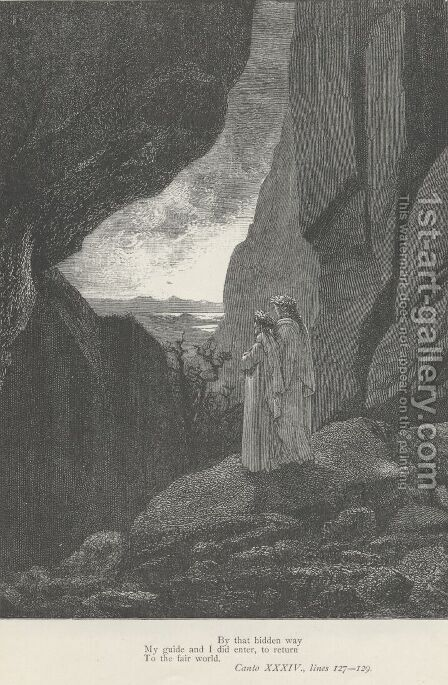 to return To the fair world. (Canto XXXIV., lines 128-129) by Gustave Dore - Reproduction Oil Painting