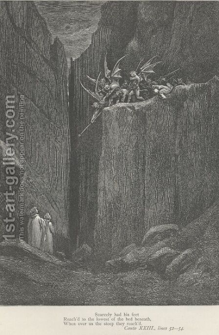 When over us the steep they reach'd. (Canto XXIII., line 54) by Gustave Dore - Reproduction Oil Painting
