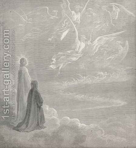 Ye host of heaven!  whose glory I survey (Canto XVIII., line 126) by Gustave Dore - Reproduction Oil Painting