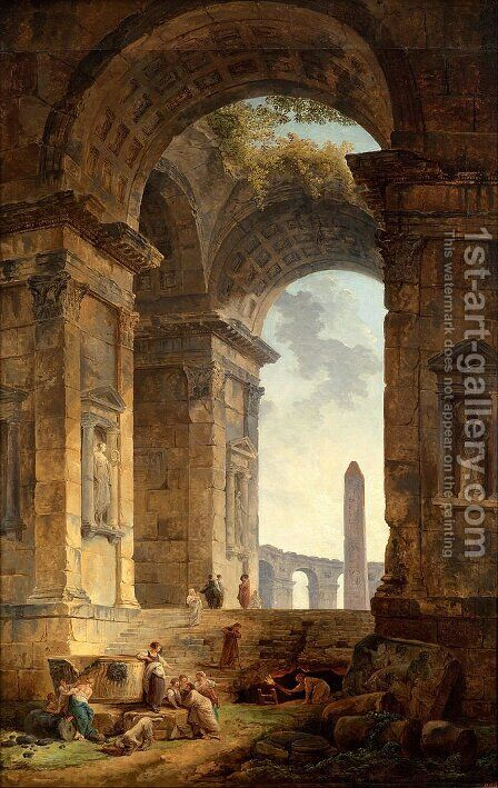 Landscape with an Arch and The Dome of St Peter's in Rome by Hubert Robert - Reproduction Oil Painting