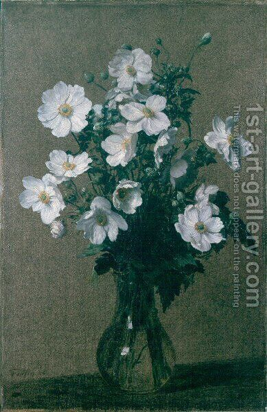 Japanese Anemones by Ignace Henri Jean Fantin-Latour - Reproduction Oil Painting