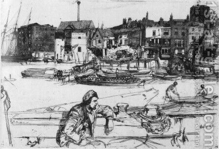 Black Lion Wharf by James Abbott McNeill Whistler - Reproduction Oil Painting