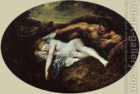 Jupiter & Antiope by Jean-Antoine Watteau - Reproduction Oil Painting