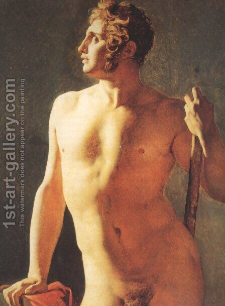Male Torso by Jean Auguste Dominique Ingres - Reproduction Oil Painting