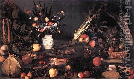 Still Life with Flowers and Fruit by Caravaggio - Reproduction Oil Painting
