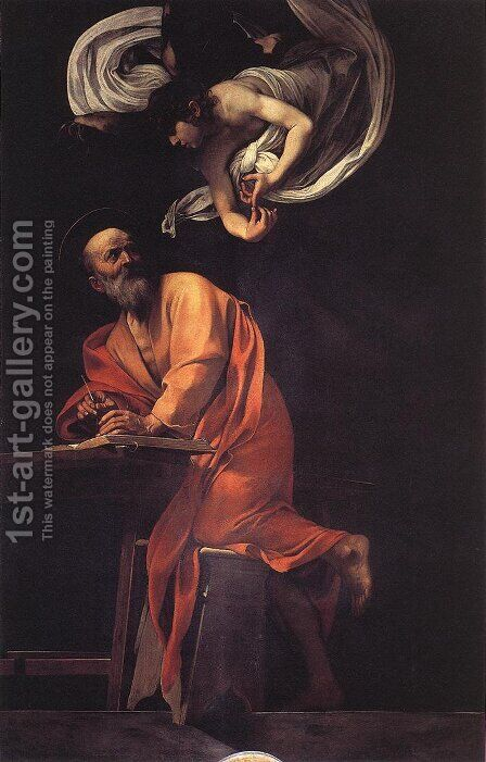 The Inspiration of Saint Matthew by Caravaggio - Reproduction Oil Painting