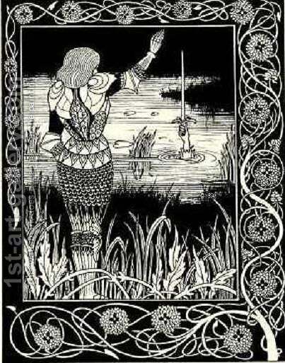 How Sir Bedivere Cast the Sword Excalibur into the Water by Aubrey Vincent Beardsley - Reproduction Oil Painting