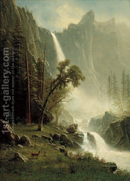 Bridal Veil Falls, Yosemite by Albert Bierstadt - Reproduction Oil Painting