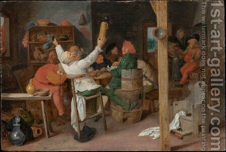 Peasants Carousing in a Tavern by Adriaen Brouwer - Reproduction Oil Painting