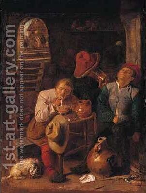 Four Peasants in a Cellar by Adriaen Brouwer - Reproduction Oil Painting