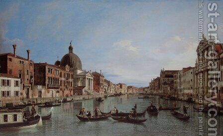 Venice, the Upper Reaches of the Grand Canal with S. Simeone Piccolo by (Giovanni Antonio Canal) Canaletto - Reproduction Oil Painting