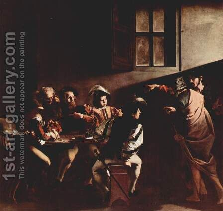 The Calling of Saint Matthew 2 by Caravaggio - Reproduction Oil Painting