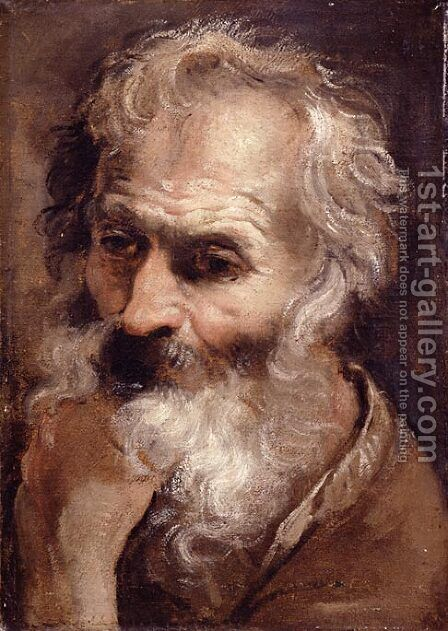 Head of an Old Man 2 by Annibale Carracci - Reproduction Oil Painting