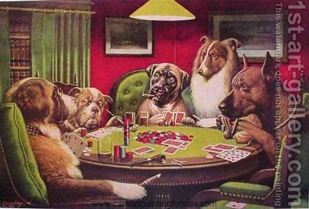 Dogs Playing Poker by Cassius Marcellus Coolidge - Reproduction Oil Painting